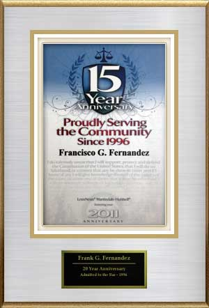 2010 award for 15 years serving the Tampa community