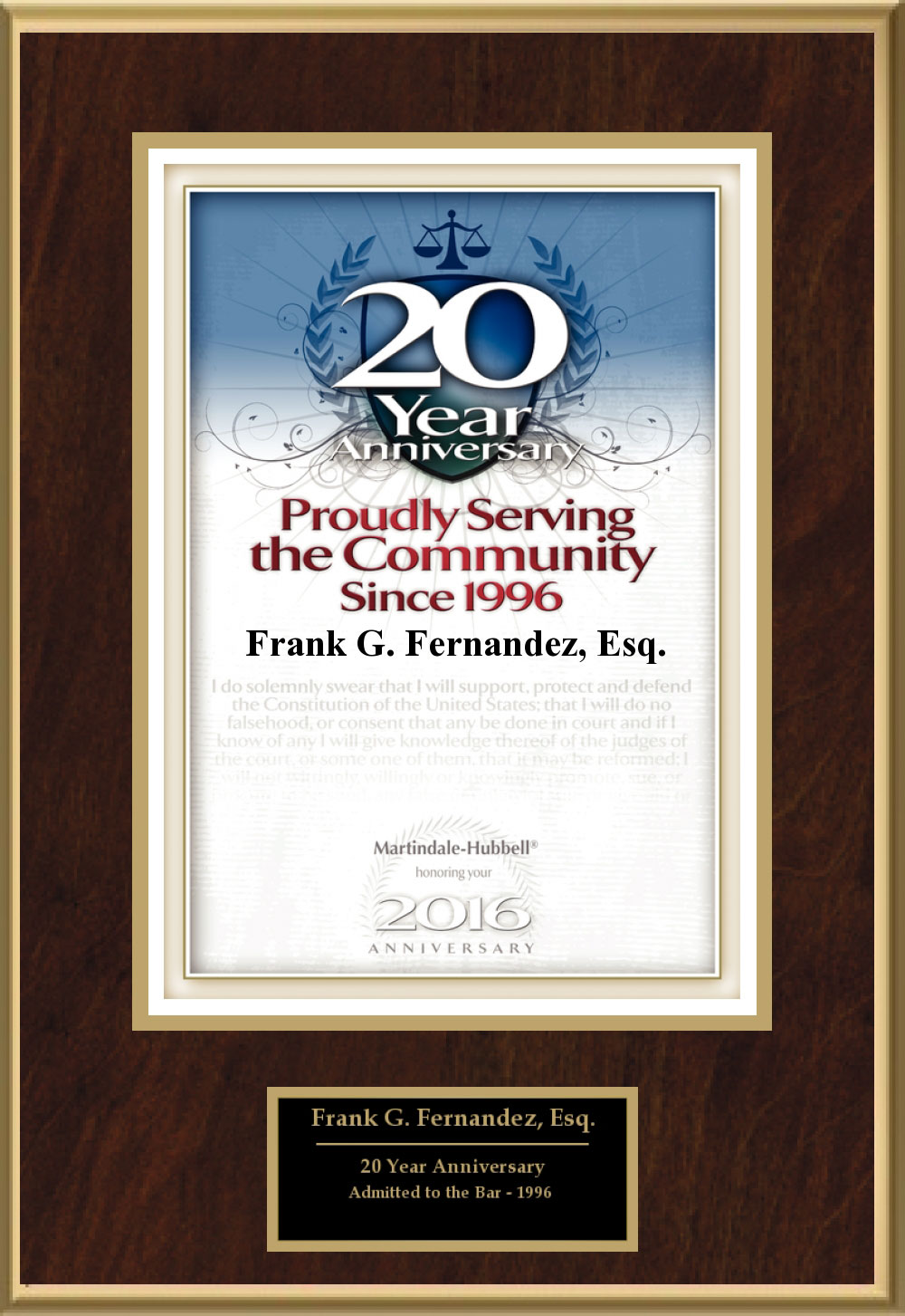 2015 award for 20 years serving the Tampa community