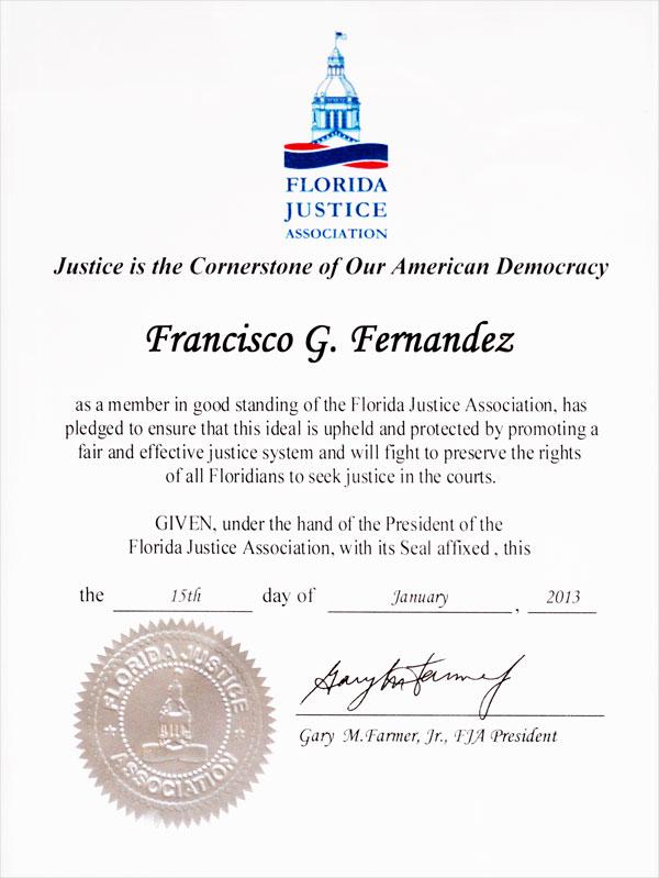 2013 Florida Justice Association member Frank G. Fernandez