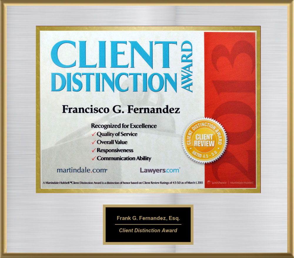 Client Distinction Award, 2013 from Martindale-Hubble