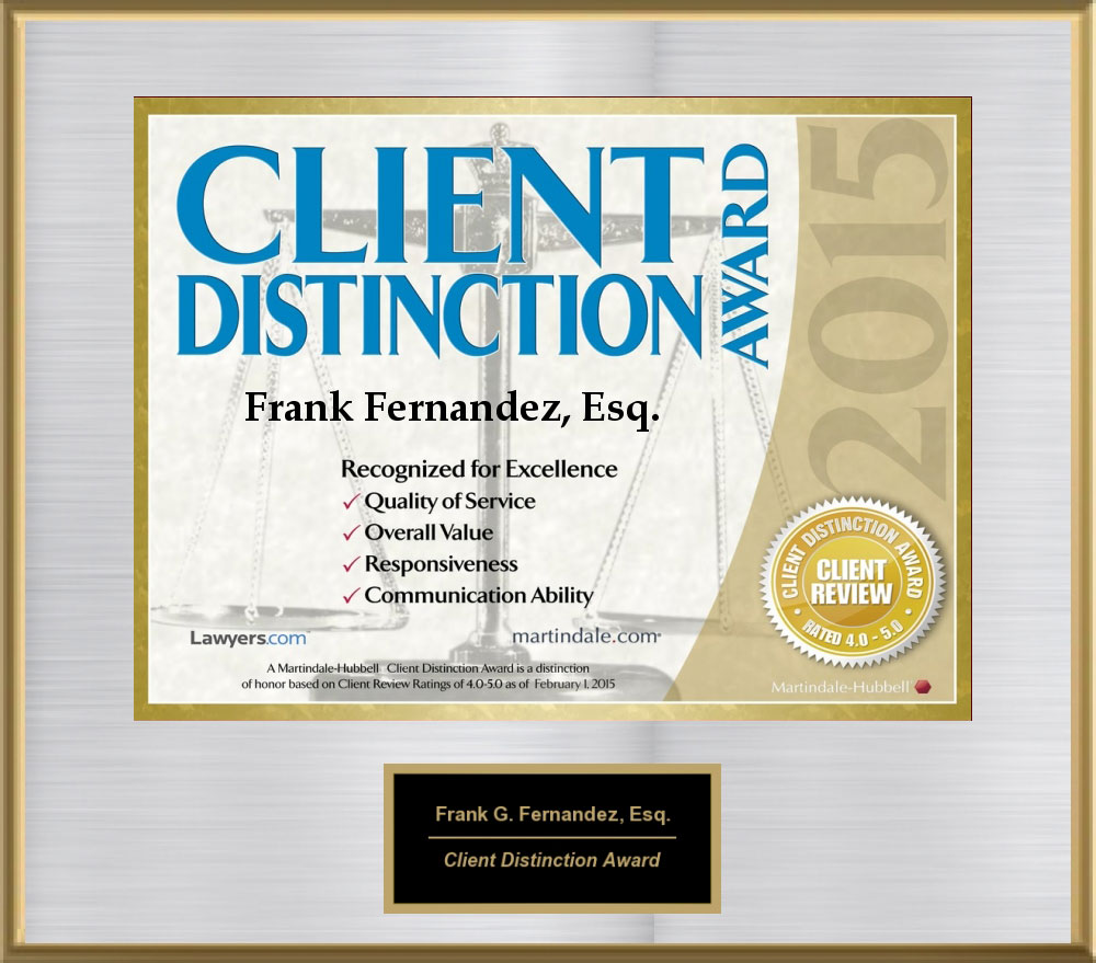 Client Distinction Award, 2015 from Martindale-Hubble