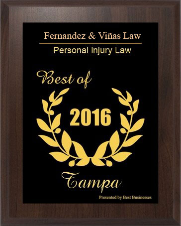 2016 Best of Tampa Personal Injury Lawyers Award