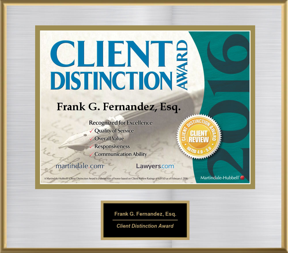 Client Distinction Award, 2016 from Martindale-Hubble