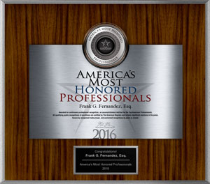 2016 Most Honored Professional Award for Frank Fernandez