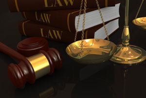 Gavel, Scales of Justice, Law Books