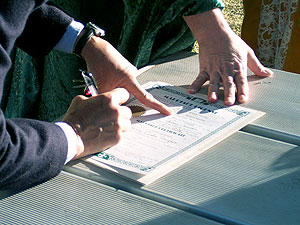 Signing a marriage license