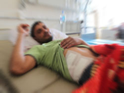 Photo showing a personal injury accident victim in a hospitals